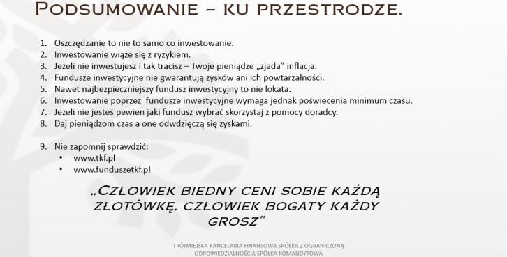 Dzień z Inwestycjami - wykład otwarty Doradcy Inwestycyjnego Tomasza Kuprasz